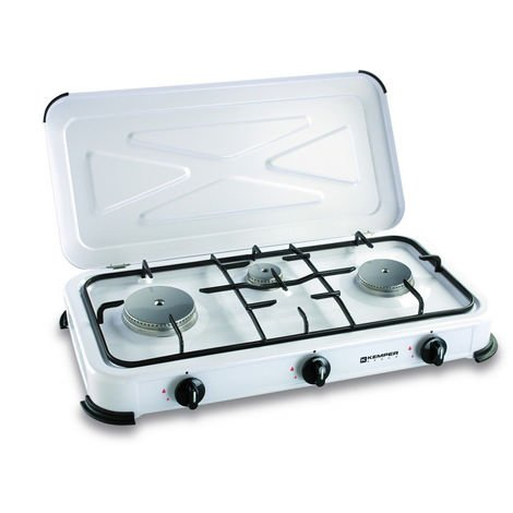 plaque de cuisson gaz portable 3 feux 3450 w blanc. Black Bedroom Furniture Sets. Home Design Ideas