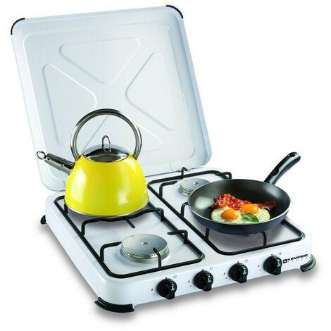 Plaque de cuisson gaz portable 4 feux - 4650 W - Kemper - blanc laqué - Blanc laqué