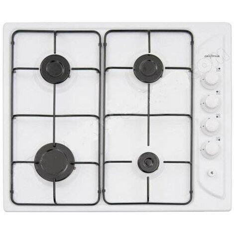 Plaque de cuisson quatre feux gaz blanche 580x500mm.