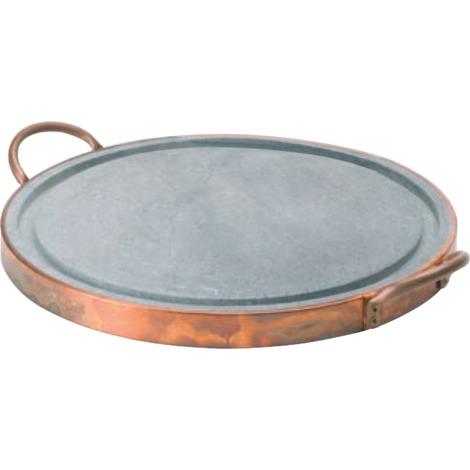 Plaque de cuisson ronde diam 25 cm en pierre ollaire avec fond en cuivre