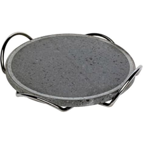 Plaque de cuisson ronde diam 26 cm en pierre de lave avec fond en chrome