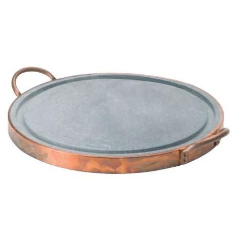 Plaque de cuisson ronde diam 30 cm en pierre ollaire avec fond en cuivre