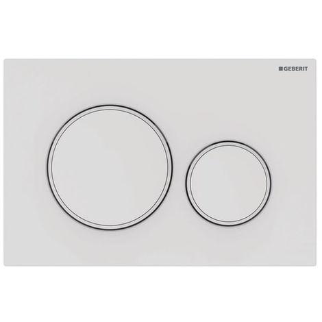 Plaque de déclenchement blanc mat laqué et blanc Sigma20 pour rinçage double touche - Geberit