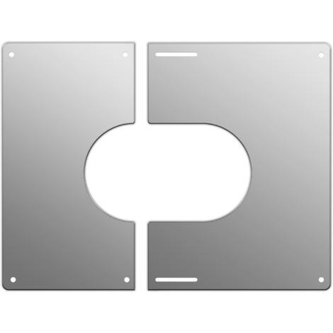 Plaque de finition carrée inox Ø 150 mm
