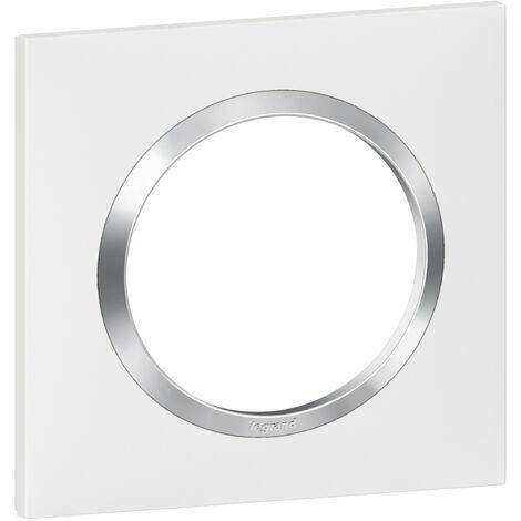 Plaque de finition Dooxie Blanc & Chrome - 1, 2, ou 3 postes / Legrand