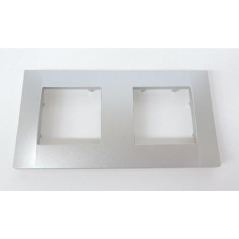 "main image of ""Plaque de finition double aluminium 2 postes horizontale pour appareillage ALTIRA SCHNEIDER ALB46652"""