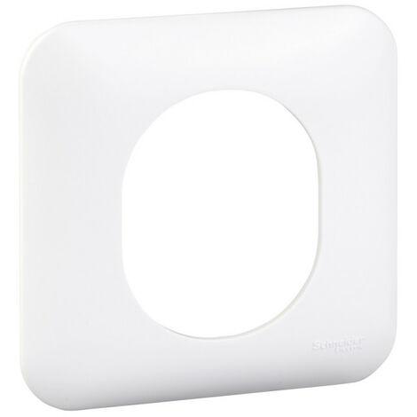Plaque de finition Ovalis - 1 poste - Blanc RAL9003 - Schneider Electric