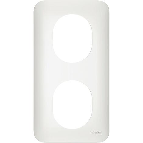 Plaque de finition Ovalis 2 Postes - Vertical - Entraxe 71mm - Schneider Electric