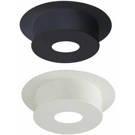 Plaque de finition pour conduit isolé inox/galva pour poêle à bois - Plaque ronde hauteur 12 cm - Diamètre : 130 mm - couleur : BLANC