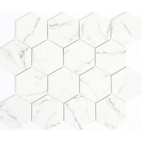 Plaque de mosaique 29,8 CM x 25,9 CM en verre émaillé blanc mat, forme hexagone, 73 MM - Couleur : blanc mat imitation marbre