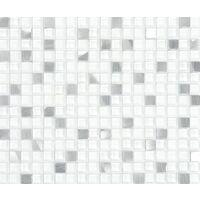 Plaque de mosaique 30 CM x 30 CM en métal et verre blanc, forme carré, 15*15 MM - Couleur: blanc, métal