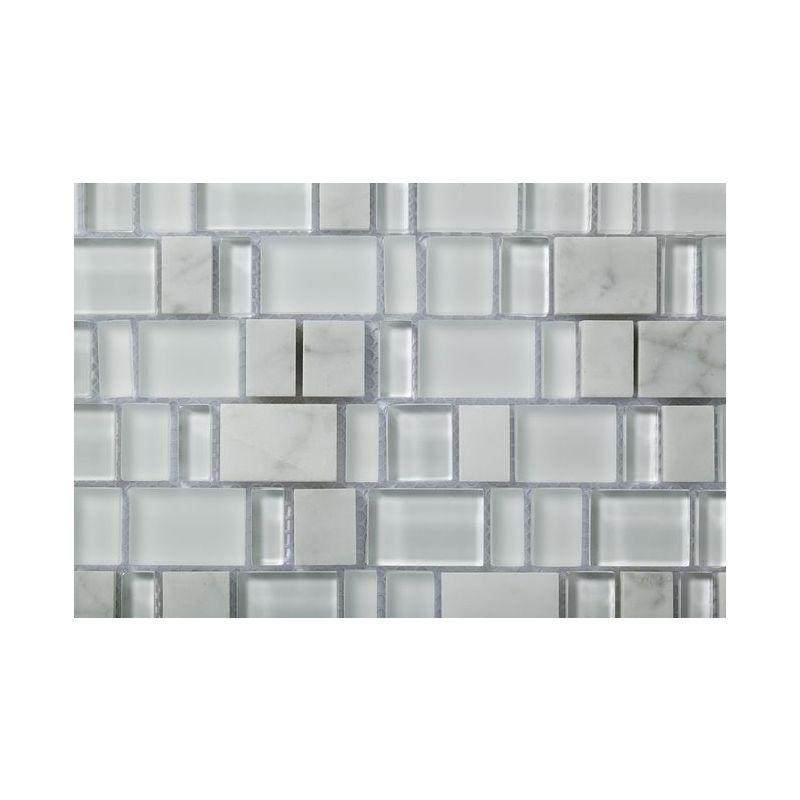 Plaque De Mosaique 30 CM X En Pierre Carrara Et Verre Blanc Forme Karma 23105152030358 MM