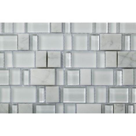 Plaque de mosaique 30 CM x 30 CM en pierre carrara et verre blanc, forme karma, 23*(10.5,15,20,30,35)*8 MM - Couleur : carrara bianco + verre blanc et superblanc