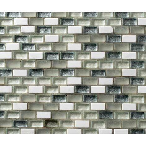 Plaque de mosaique 30 CM x 30 CM en pierre et verre avec pigments métalliques, couleurs claires avec vert/gris, forme mini briques, 10*20*8 MM - Couleur : couleurs claires: vert glacé, blanc et gris/vert