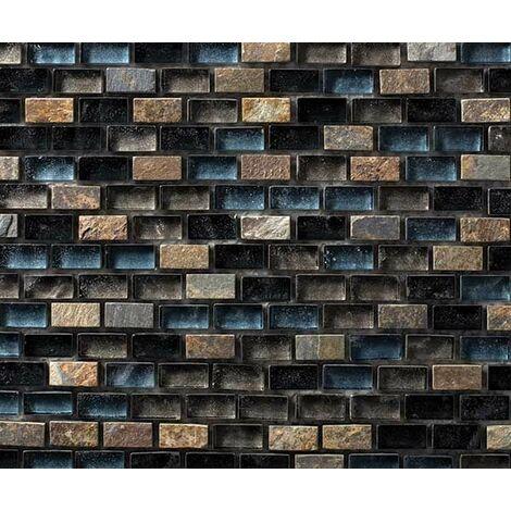 Plaque de mosaique 30 CM x 30 CM en pierre et verre avec pigments métalliques, couleurs vives avec bleu et noir, forme mini briques, 10*20*8 MM - Couleur : couleurs vives et foncés: bleu, marron, noir, gris