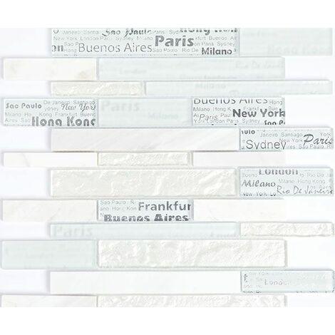 Plaque de mosaique 30 CM x 30 CM en pierre et verre, barrettes - Couleur : blanc