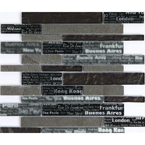 Plaque de mosaique 30 CM x 30 CM en pierre et verre, barrettes - Couleur : noir