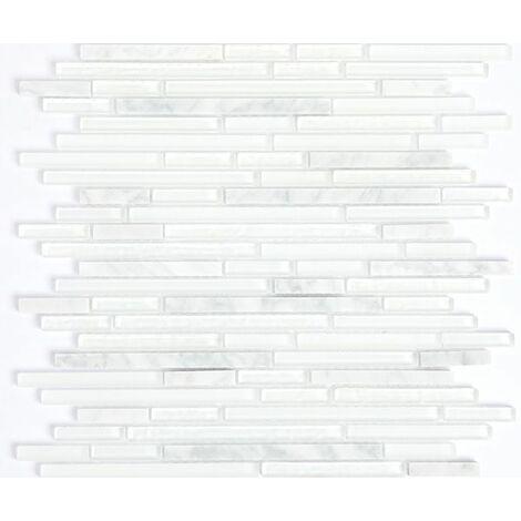 Plaque de mosaique 30 CM x 30 CM en pierre et verre blanc, forme barrettes, taille multiple - Couleur: melange 4: blanc