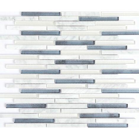 Plaque de mosaique 30 CM x 30 CM en pierre et verre, forme barrettes, 10*98 MM - Couleur: melange Lona: blanc, bleu