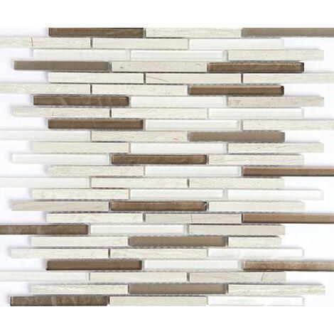 Plaque de mosaique 30 CM x 30 CM en pierre et verre, forme barrettes, 10*98 MM - Couleur: melange Milano: marbre Wooden white, blanc, marron