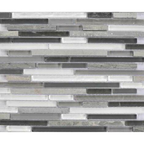 Plaque de mosaique 30 CM x 30 CM en pierre et verre, forme barrettes, taille multiple - Couleur: melange 2: gris, blanc