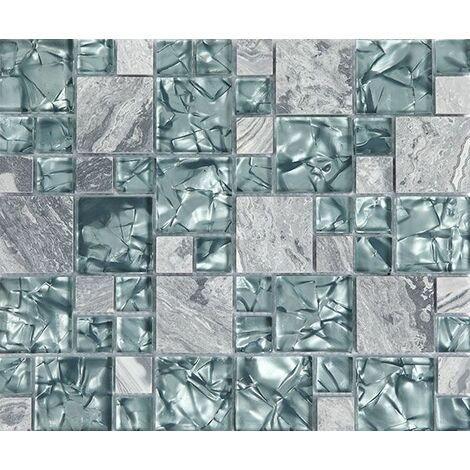 Plaque de mosaique 30 CM x 30 CM en pierre et verre, forme carré, taille multiple - Couleur: gris