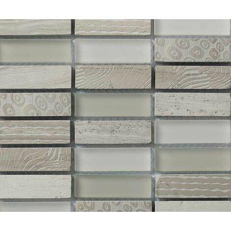 Plaque de mosaique 30 CM x 30 CM en pierre gravée wooden white et verre blanc cassé, forme rectangle, 15*48*8 MM - Couleur : wooden white + verre blanc cassé, melange 1