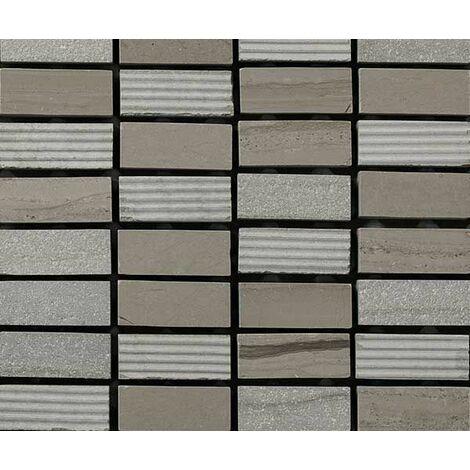 Plaque de mosaique 30 CM x 30 CM en pierre moca gravée, forme brique, 12*30*10 MM - Couleur : moca
