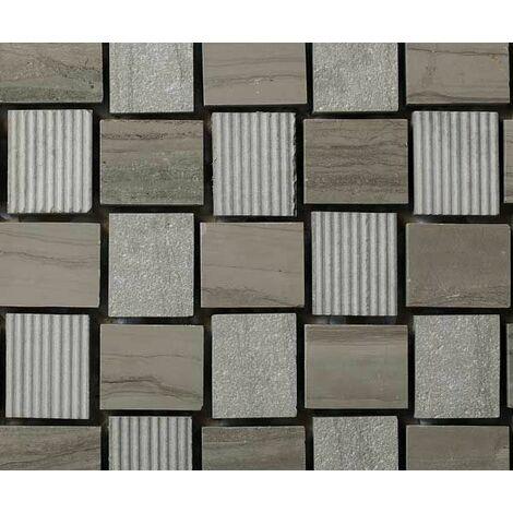 Plaque de mosaique 30 CM x 30 CM en pierre moca gravée, forme nattée, 23*28*10 MM - Couleur : moca