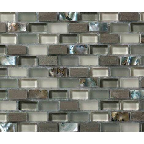 Plaque de mosaique 30 CM x 30 CM en pierre moca, verre et pure nacre, forme mini briques, 10*20*8 MM - Couleur : wooden moka + verre vert + beige + nacre h