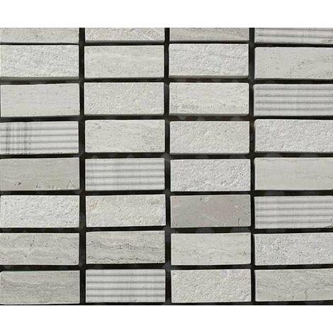 Plaque de mosaique 30 CM x 30 CM en pierre wooden white gravée, forme brique, 12*30*10 MM - Couleur : wooden white