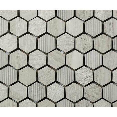 Plaque de mosaique 30 CM x 30 CM en pierre wooden white gravée, forme hexagone, hex 23*10 MM - Couleur : wooden white