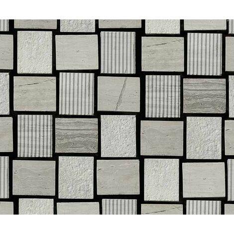 Plaque de mosaique 30 CM x 30 CM en pierre wooden white gravée, forme nattée, 23*28*10 MM - Couleur : wooden white