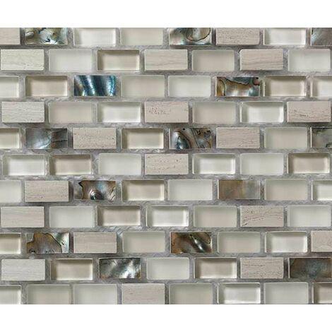 Plaque de mosaique 30 CM x 30 CM en pierre wooden white, verre et pure nacre, forme mini briques, 10*20*8 MM - Couleur : wooden white + verre blanc cassé + nacre c