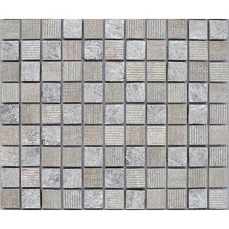 Plaque de mosaïque en pierre avec feuilles d'argent – Dimensions: plaque 273x273mm, tessels 23x23mm – Couleur: beige – 1 boîte: 8 plaques