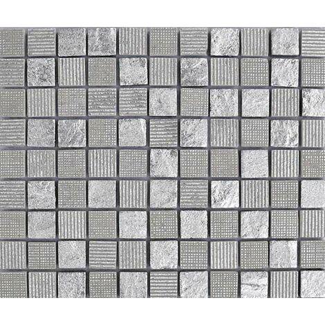 Plaque de mosaïque en pierre avec feuilles d'argent – Dimensions: plaque 273x273mm, tessels 23x23mm – Couleur: gris – 1 boîte: 8 plaques