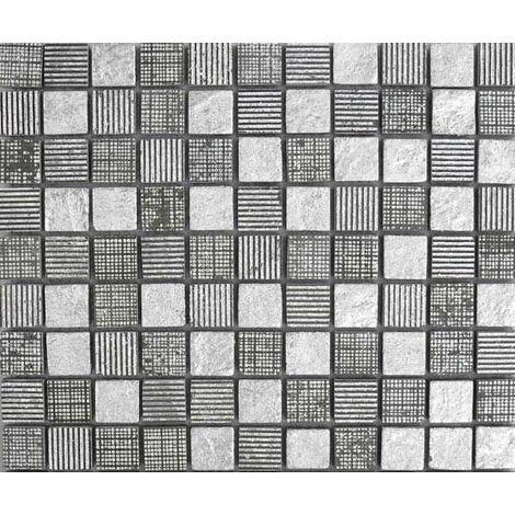 Plaque de mosaïque en pierre avec feuilles d'argent – Dimensions: plaque 273x273mm, tessels 23x23mm – Couleur: noir – 1 boîte: 8 plaques