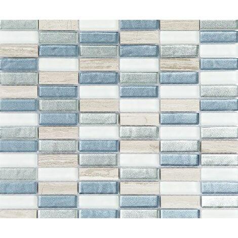 Plaque de mosaïque en pierre et verre – Dimensions: plaque 300x300mm, tessels 15x48x8mm – Couleur: blanc et bleu – 1 boîte: 11 plaques