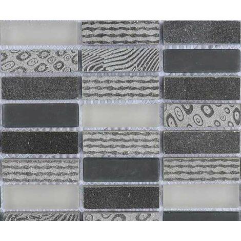 Plaque de mosaïque en pierre gravée et verre – Dimensions: plaque 297x287mm, tesselles 15x48mm – Couleur: noir, gris – 1 boîte: 8 plaques