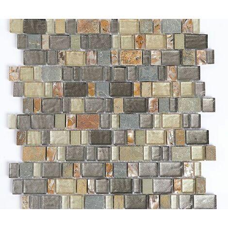 Plaque de mosaïque en pierre, nacre et verre – Dimensions: plaque 300x300mm, tessels 23x(10.5,15,20,30,35)x8mm – Couleur: gris et vert – 1 boîte: 11 plaques