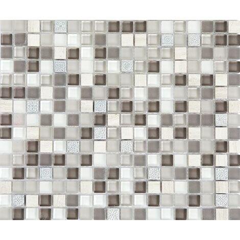Plaque de mosaïque en pierre, résine et verre – Dimensions: plaque 300x300mm, tessels 15x15x8mm – Couleur: marron, gris, blanc – 1 boîte: 11 plaques