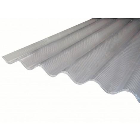 Plaque de polycarbonate ondulé alvéolaire 6mm GO (grande onde 177/51 mm)