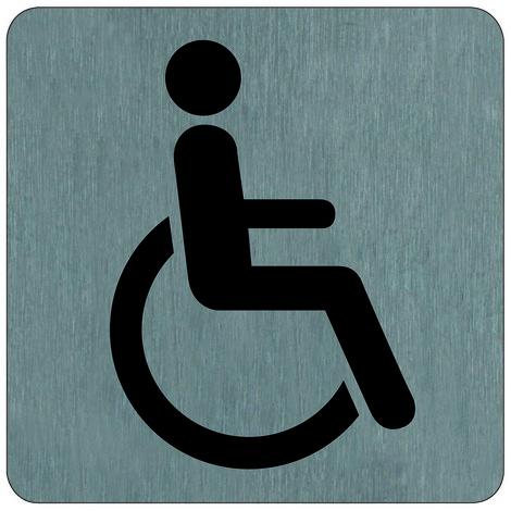 "main image of ""Plaque de porte Toilettes Handicapés - Aluminium brosse 100x100mm - 4384047"""