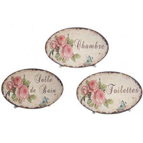 """main image of """"Plaque de portes pour la maison Roses (Lot de 3)"""""""
