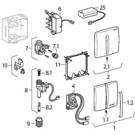 Plaque de recouvrement en zink pour commande urinoir, IR mat chromé