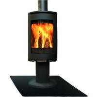 Plaque de sol de cheminée carrée en acier noir