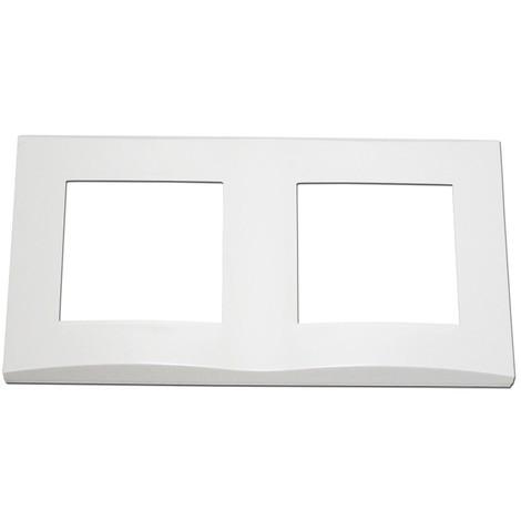 Plaque double blanche 2 postes horizontale entraxe 71mm bord biseauté pour appareilllage mural ALTERNATIVE ELEC AE51002