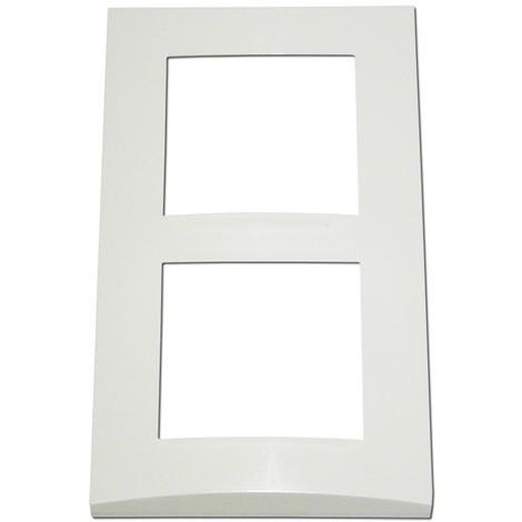 Plaque double blanche 2 postes verticale entraxe 57mm bord biseauté pour appareilllage mural ALTERNATIVE ELEC AE51004