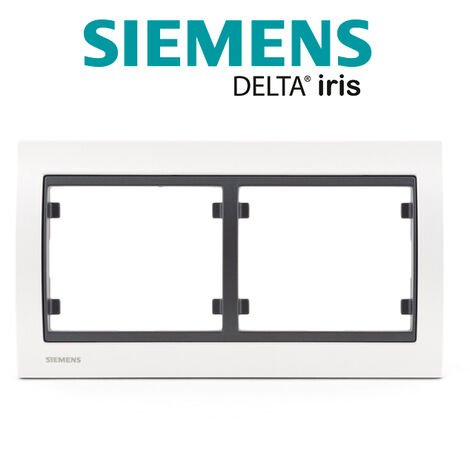 Plaque Double Horizontal Métal Perle Blanc Delta IRIS - SIEMENS