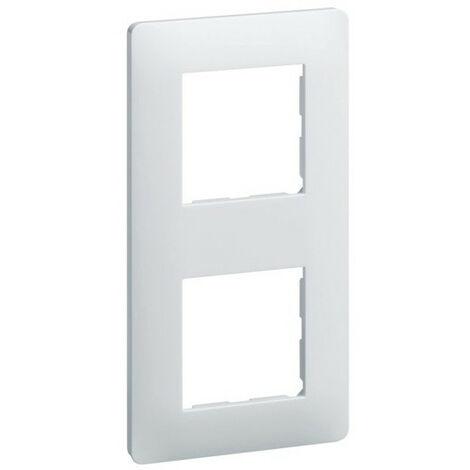 Plaque Essensya - 2 postes - Réversible - Entraxe 71mm - Blanc - Hager